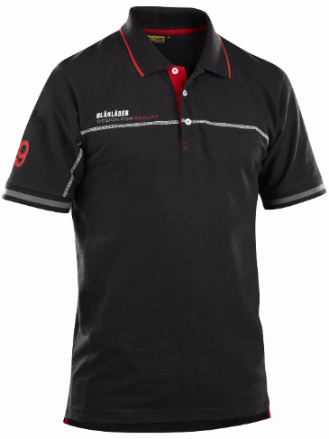Blaklader 3327 Branded Polo Shirt (Black / Red)